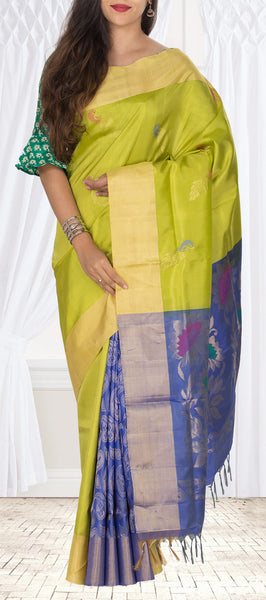 Parrot Green & Lavender Soft Silk Saree With Half Fine Zari
