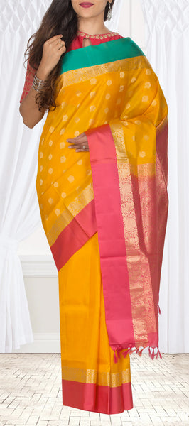 Yellow, Pink & Green Lightweight Kanchipuram Handloom Silk Saree