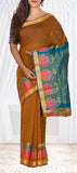 Brown Semi Silk Cotton Casual Saree