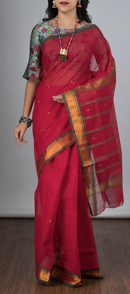 Red Traditional Cotton Saree