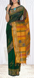 Dark Green & Mustard Silk Cotton Saree