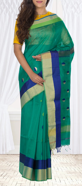 Green & Blue Silk Cotton Saree