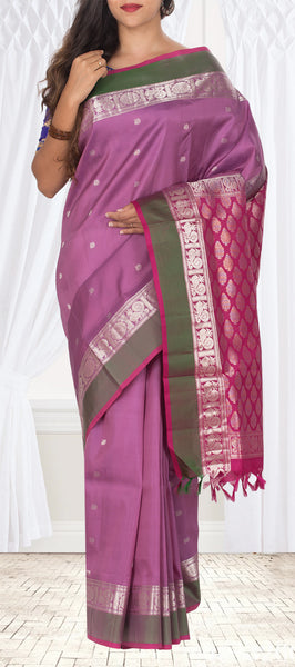 Purple & Magenta Lightweight Pure Kanchipuram Handloom Silk Saree