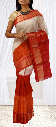 Red, Orange & Cream Silk Cotton Saree
