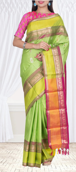 Parrot Green & Magenta Pure Silk Saree — Diwali Collection