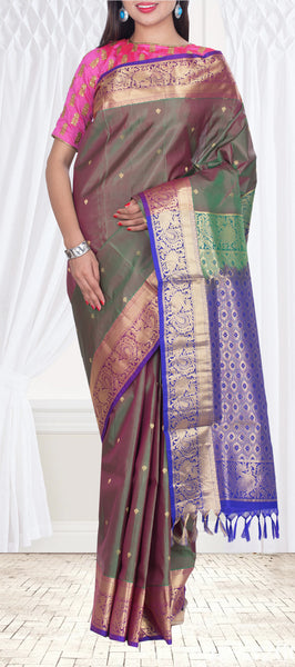 Double Shade & Purple Pure Silk Saree — Diwali Collection