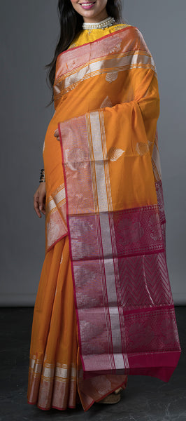 Orange Semi Silk Cotton Saree with Silver Zari