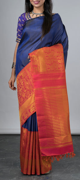 Dark Blue Kanchipuram Silk Saree