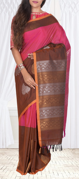 Dark Pink & Snuff Brown Semi Silk Cotton Casual Saree