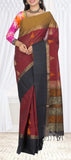 Maroon, Black & Brown Ethnic Cotton Saree