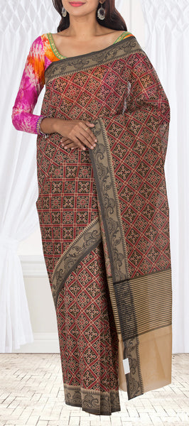 Black, Maroon & Beige Summer Cotton Saree