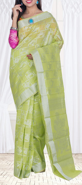 Lime Green Semi Silk Cotton Saree