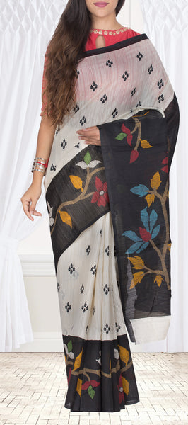 White & Black Semi Jute Casual Saree