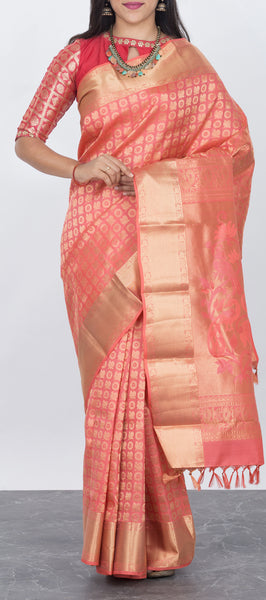 Peach Softsilk Saree