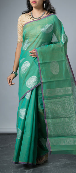 Borderless Teal Green Semi Silk Cotton Saree