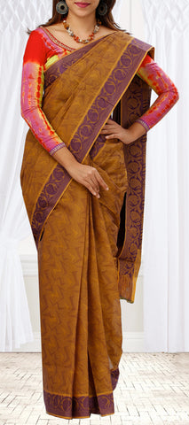 Brown & Maroon Summer Cotton Saree