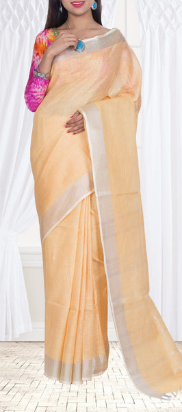 Peach Linen Saree — Diwali Collection