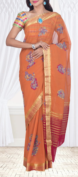 Ginger Orange Semi Chiffon Saree With Kalamkari Prints