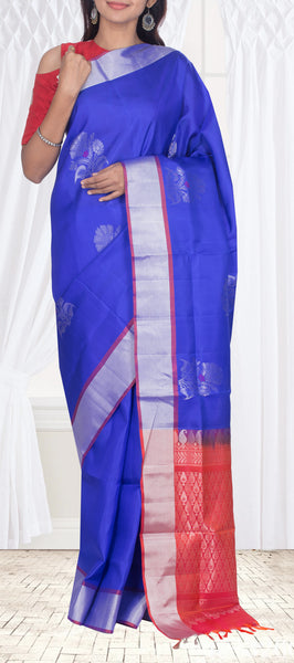 Royal Blue Simple Soft Silk Saree