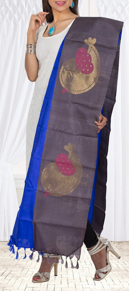 Royal Blue & Dark Grey Pure Kanchipuram Silk Dupatta
