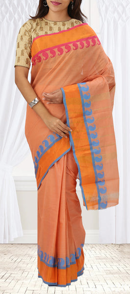 Light Orange Summer Cotton Saree