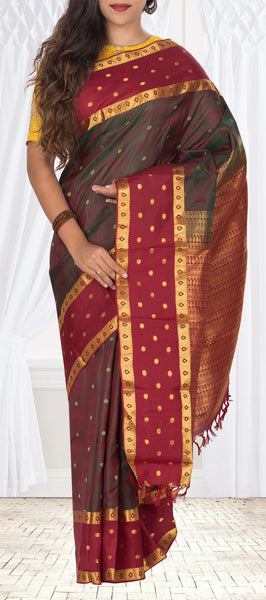 Green & Maroon Lightweight Pure Kanchipuram Handloom Silk Saree