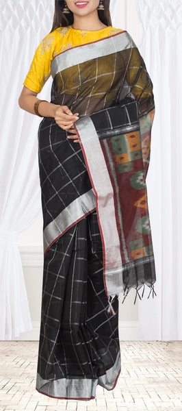 Black Pochampalli Cotton Casual Saree