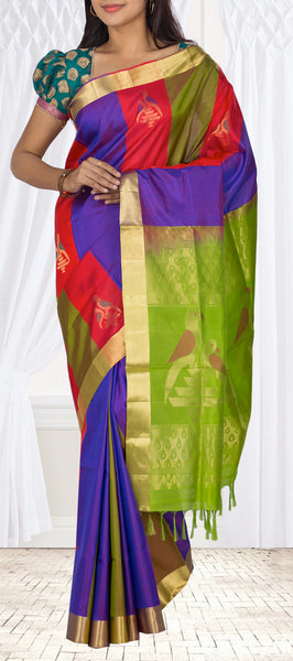 Red, Purple & Green Soft Silk Saree