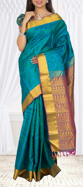 Teal Blue & Purple Lightweight Kanchipuram Silk Saree