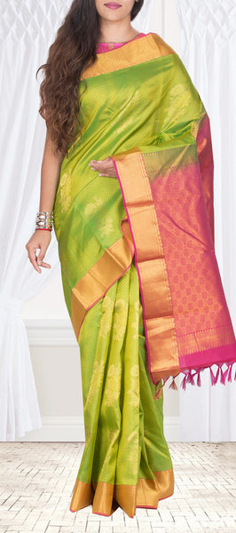 Parrot Green, Onion Pink & Magenta Lightweight Pure Kanchipuram Sik Saree With Half Fine Zari