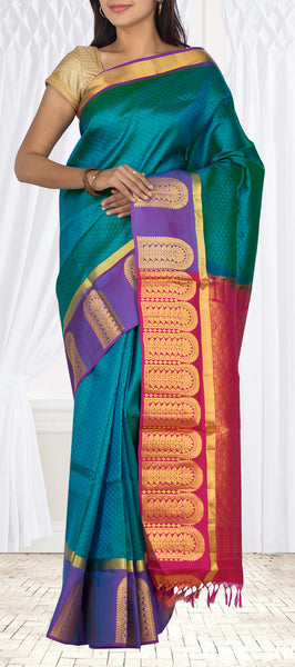 Dark Green, Purple & Maroon Lightweight Kanchipuram Handloom Silk Saree