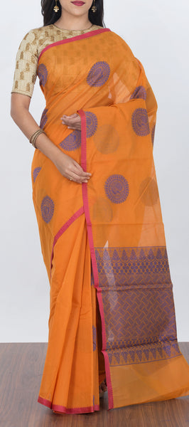 Orange Semi Silk Cotton Saree