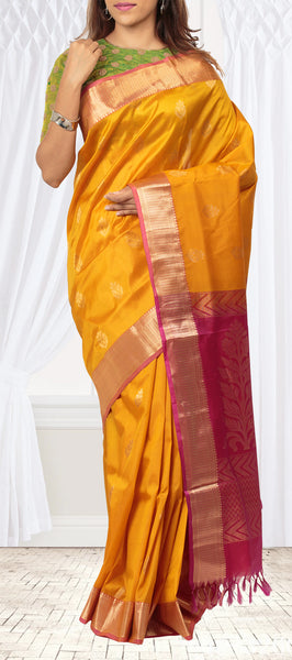 Mango Yellow Lightweight Kanchipuram Silk Saree
