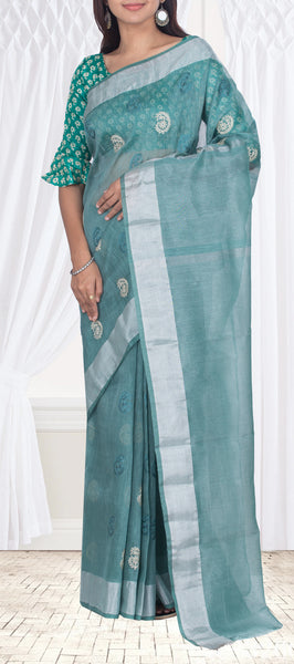Teal Green Semi Kora Silk Saree With Embroidery