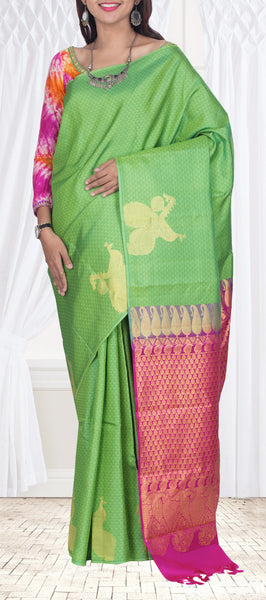 Parrot Green & Magenta Borderless Kanchipuram Silk Saree