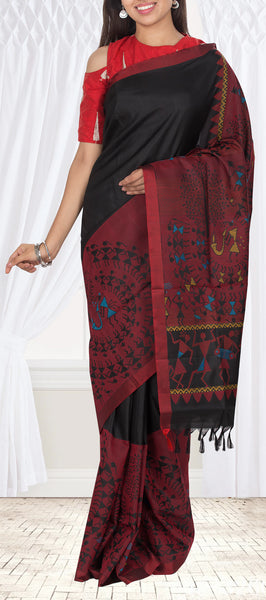 Black & Maroon Soft Silk Saree