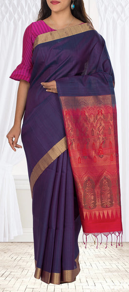 Purple & Dark Pinkish Red Jute Silk Saree