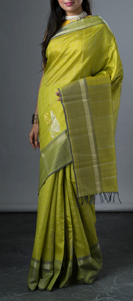 Chutney Green Kanchipuram Silk Sare with Zari Checks