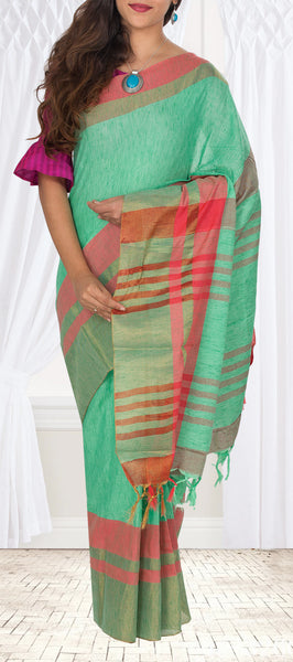 Aqua Green & Dark Peach Semi Linen Saree