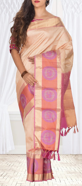 Cream & Pink Lightweight Pure Kanchipuram Handloom Silk Saree