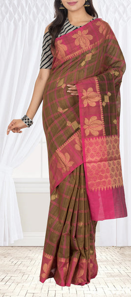 Brown & Magenta Semi Silk Cotton Saree