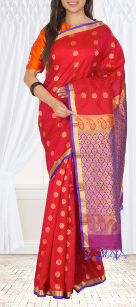 Dark Red & Purple Lightweight Kanchipuram Silk Saree