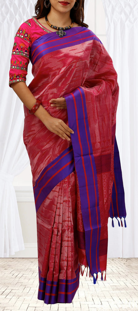 a4a534e82ef53d Red   Purple Soft Silk Saree – Palam Silks