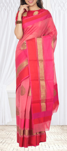 Pink & Red Semi Silk Cotton Saree