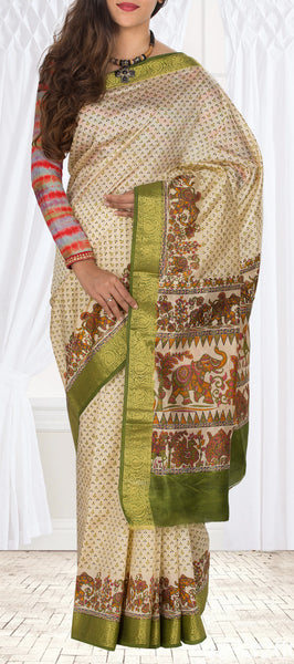 Beige & Olive Green Semi Kalamkari Casual Saree