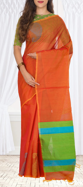 Orange Silk Cotton Saree With Jute Pallu