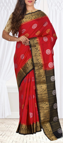 Red & Black Semi Tussar Casual Saree