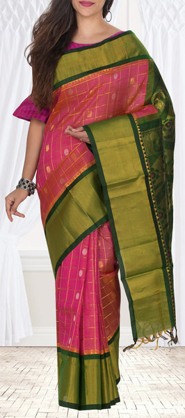Onion Pink & Green Silk Cotton Saree