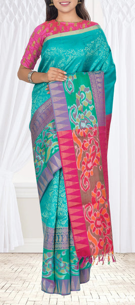 Teal Blue & Magenta Pure Soft Silk Saree with Pochampalli Border