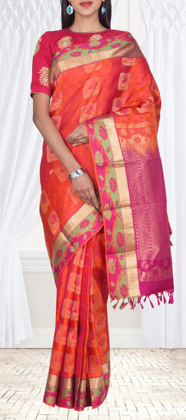Orange & Pink Lightweight Kanchipuram Pure Silk Saree